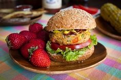 Spicy BBQ Chickpea Burgers and Baked Crispy Fries via Oh She Glows