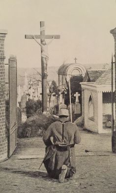 French soldier praying. World War I.                                                                                                                                                                                 More