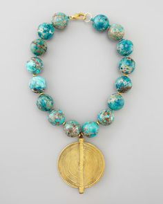 """Chunky+Turquoise+Beaded+Pendant+Necklace+by+Nest+at+Neiman+Marcus. 18"""""""