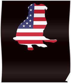 Dog Pug American Flag