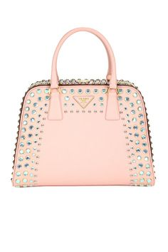Prada Borsa Cerniera Bag: Oh my - pastel pink with bling... what more could a girl want! #Prada #Accessories #Handbags