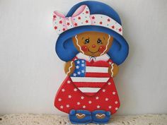 HP Gingerbread patriotic girl 4th of july SHELF SITTER hand painted USA
