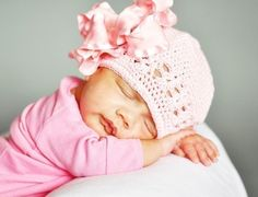 Large Pink Double Ruffle Bow Infant Beanie
