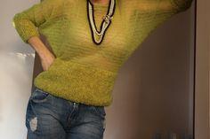 maglietta maglione mohair e lana color verde mela di PaolaCollection su Etsy