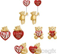 Teddy bear with heart-shaped vector cartoon