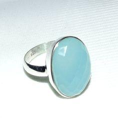 A mano argento calcedonio blu anello  calcedonio blu Aqua di Vedka