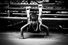 Black and White Photo of Rucker Park Pushups, New York, by James Maher Photography