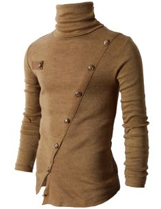 #Mens style Mens Turtleneck Knited T-Shirts With Gold Button Pointed (KMTTL037) #doublju