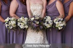 Purple and white bride and bridesmaid bouquets | Classic Digital Photography | villasiena.cc