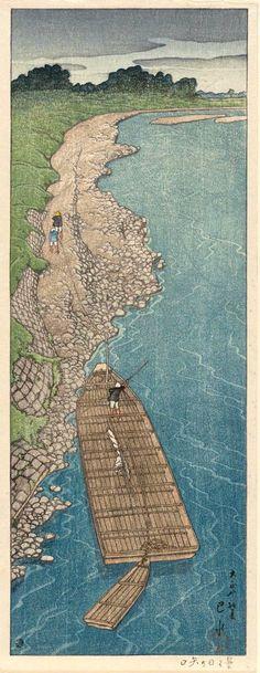 曇り日の矢口 Kumoribi no Yaguchi (Cloudy Day at Yaguchi Ferry), by Kawase Hasui, 1919 (Taishô 8), early summer