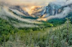 """Read my blog post about how I took this image:  Yosemite had been on my """"places to shoot"""" list for a while because every photographer covets perfect, elusive Yosemite National Park photos, particularly a Tunnel View shot, made famous by Ansel Adams' """"A Clearing Winter Storm.""""  Please repin and sign up for my newsletter!"""