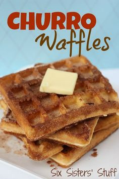 Churro Waffles on Six Sisters' Stuff | These waffles are a family breakfast favorite! Or try serving them with ice cream and call it an amazing dessert.
