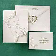 Heart Themed Wedding Ideas - Gate-fold Invitation with Pearl Hearts