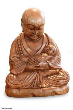 Wood sculpture, 'Buddha with a Baby' by NOVICA