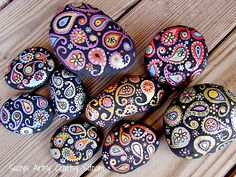 Hand painted Stone paisley gold copper and by SuzysSitcomStore
