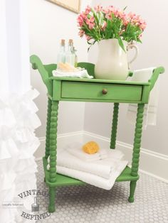Antique Washstand painted in a custom Pear Green shade. Mix of Annie Sloan Arles, Antibes Green & Chateau Grey Handmade Furniture, Repurposed Furniture, Shabby Chic Furniture, Vintage Furniture, Furniture Projects, Furniture Makeover, Home Furniture, Furniture Design, Modern Furniture