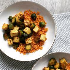 Bowl & spoon - Lentilles corail au tofu & choux de Bruxelles