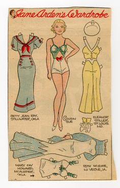 78.2386: Jane Arden's Wardrobe-Cousin Sue | paper doll | Paper Dolls | Dolls | Online Collections | The Strong