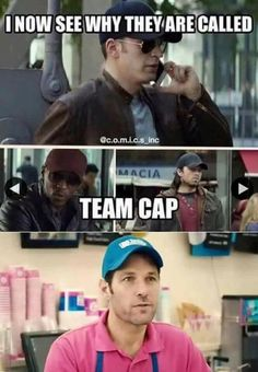 TeamCap! Don't forget Wanda has a cap at the beginning of the movie! And *spoilers* Nat wears one too, and she is a double agent between the sides.