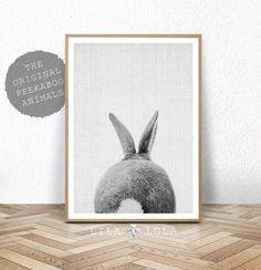 Kwekerij Print, konijn staart kunst aan de muur, afdrukbare Instant Digitale Download, bos Baby douche Decor decoratie, zwartwit Poster
