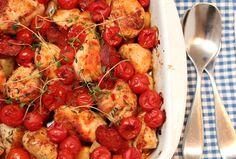 Kylling med chorizo, chili, tomater og rotgrønnsaker