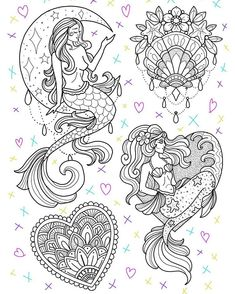 Designs for June appointments. Tattoo Drawings, Body Art Tattoos, Art Drawings, Tattoo Sketches, Xoil Tattoos, Forearm Tattoos, Tattoo Ink, Adult Coloring Pages, Coloring Books