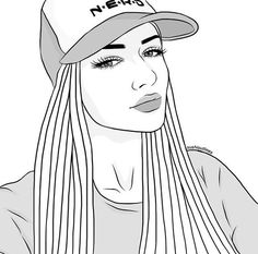 Inspiring image art, draw, drawing, outlines by Bobbym - Resolution - Find the image to your taste Tumblr Girl Drawing, Tumblr Drawings, Tumblr Art, Girl Drawing Sketches, Girly Drawings, Outline Drawings, Girl Sketch, Pencil Art Drawings, Easy Drawings