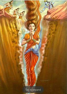 Ramayana : Godess Sita taking sanctuary of Godess Earth Krishna Hindu, Shri Hanuman, Radha Krishna Images, Lord Krishna Images, Hindu Deities, Durga Maa, Krishna Pictures, Hare Krishna, Lord Rama Images