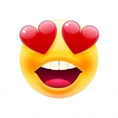 Visage souriant aux yeux de coeur Emoji. Smiley Face. Joyeux Emoticon. L'émoticône riant. Icône sourire. Illustration vectorielle isolée sur fond blanc — Illustration Smileys, Funny Emoticons, Kiss Emoji, Smiley Emoji, Smiley Faces, Bisous Gif, Cute, Big, Good Night Friends