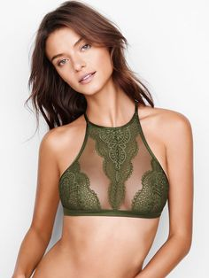 edd3cf18cc Crochet Lace High-neck Bralette - Body by Victoria - Victoria s Secret  Victoria s Secret