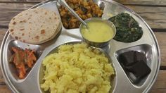 spinach and mushroom, Alu fry; Veg Thali, Indian Street Food, Spinach Stuffed Mushrooms, Cape Town, Palak Paneer, Namaste, Pickles, Mashed Potatoes, Fries