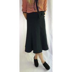 Bow Belt Swirl Skirt in Navy