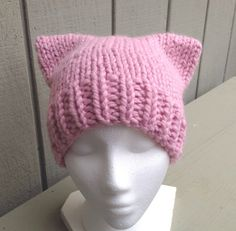 PussyCat hat  PussyHat  Pussy Hat Project  Pink by LurayKnitwear