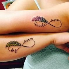 little and big sister infinity feather tattoos