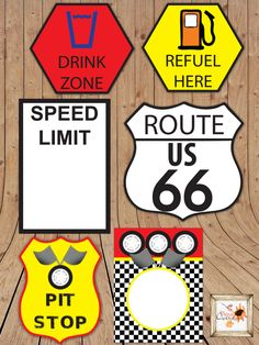 Race Car Themed Printable Party Road Signs in Microsoft Word Customizable Car Boy's Birthday Party Decorations by aFriendDesigns on Etsy