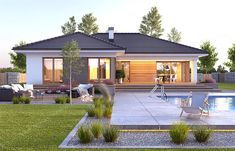 Projekt domu Nela V 137,4 m2 - koszt budowy - EXTRADOM Beautiful House Plans, Beautiful Dream, Beautiful Homes, Village House Design, Village Houses, House Outside Design, House Construction Plan, Home Design Plans, Modern House Design