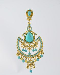 Turquoise On Gold Chandelier from Barrera. 24 Karat gold plated chandelier with Turquoise stones and beads and accents of gold plated Austrian crystals Earring is clip on . Earring measures inches long and 2 inches at widest point . Chandler Earrings, Gold Chandelier, Austrian Crystal, Turquoise Stone, Fashion Boutique, Studs, Stud Earrings, Pendant Necklace, My Style
