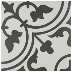The popular Arte Series now comes in a sample size. Drawing inspiration from artisan cement tiles, the Merola Tile Arte Black Encaustic Porcelain Floor and Wall Tile - in. Bathroom Floor Tiles, Wall Tiles, Tile Art, Subway Tiles, Shower Floor, Porcelain Tile, White Porcelain, Arte Black, Stone Tiles