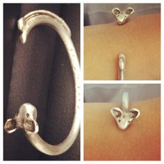 """Sterling silver and silver clay bangle """"mouse"""" , a special commission with a personal inscription inside ."""