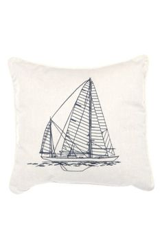 'Clemsford' Embroidered Ship Accent Pillow image