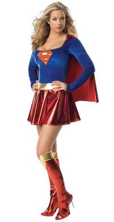 Supergirl is ready to help save the day in this 1-Piece Deluxe Adult Costume. The costume includes a classic blue top with red skirt with gold trim around the neckline and sleeves. It also features th
