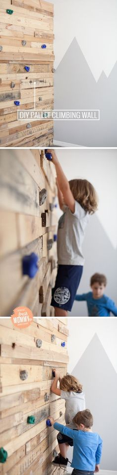 A DIY kids room for kids that like to climb!!!! DIY Pallet Climbing Wall tutorial and video of this shared boys room!