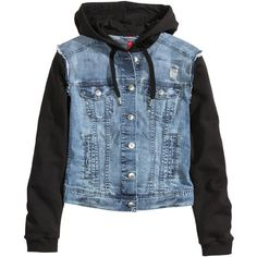 H&M Hooded denim jacket (€27) ❤ liked on Polyvore featuring outerwear, jackets, tops, shirts, denim blue, blue jean jacket, drawstring denim jacket, jean jacket, blue jackets and h&m