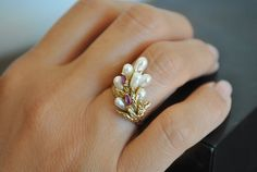 Your place to buy and sell all things handmade Beautiful One, Beautiful Rings, Ruby Stone, Gold Pearl, 14 Karat Gold, Vintage Jewelry, Pearls, Band, Etsy
