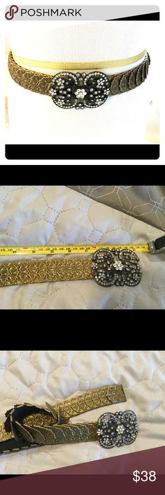 Vintage Belt 30 inches-  metal fan with rhinestones Accessories Belts