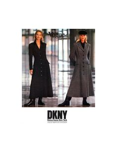 90s Vogue American Designer 1054 DKNY Semi-Fitted, Flared, Lined Coat Dress, Uncut, Factory Folded, Sewing Pattern Size 8-10-12 Vogue Patterns, Sewing Patterns, Princess Seam, Coat Dress, Donna Karan, Fit And Flare, Calvin Klein, American, 1990s