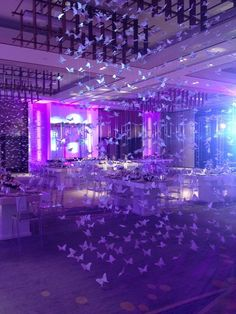 Butterfly dancing in the ballroom Sweet 16 Party Decorations, Sweet 16 Themes, Quince Decorations, Quinceanera Decorations, Quinceanera Party, Table Decorations, Cinderella Quinceanera Themes, Quinceanera Planning, Pretty Quinceanera Dresses