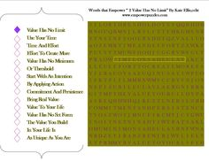 "Value Has No Limit~Use Your Time~Time And Effort  Effort To Create More~Value Has No Minimum~Or Threshold  Start With An Intention~By Applying Action~Commitment And Persistence~Bring Real Value~Value To Your Life  Value Has No Set Form~The V  alue You Build~In Your Life Is  As Unique As You Are    Excerpt from Words that Empower Volume VIII  ""Honor, Value & Integrity""    www.facebook.com/mindful.puzzles  www.empowerpuzzles.com"