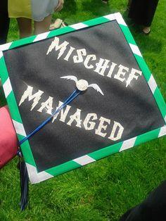 My friend's graduation hat. Funny Graduation Caps, Graduation Cap Designs, Graduation Cap Decoration, Graduation Diy, High School Graduation, Harry Potter Grad Cap, Cap Decorations, Mischief Managed, Vsco