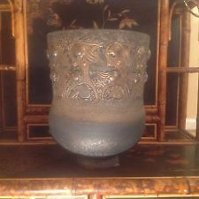 Edwin Scheier Incised Nude Female Footed Vase copper textured surface signed